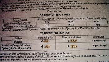 pompeii entrance fee, pompeii opening hours, visiting pompeii