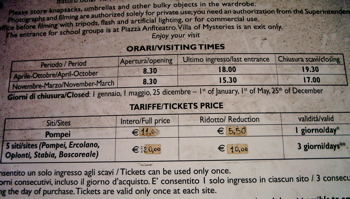pompeii entrance fee, pompeii opening hours, visiting pompeii