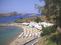 lindos beach, lindos acropolis, lindos photo