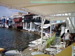 mykonos little venice image, little venice photos, little venice restaurants