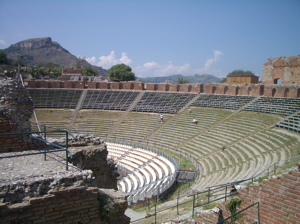 taormina amphitheatre photo, taormina greco roman theatre photo