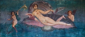 pompeii venus in the shell image, pompeii venus photo, venus in the shell fresco